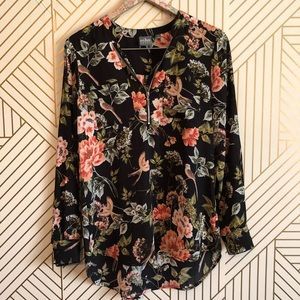 NY&C • S floral long sleeve light weight blouse